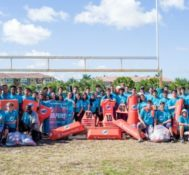 Miami Dolphins and Baptist Health South Florida Donate Equipment to Ronald W. Reagan Doral Senior High School Football Team